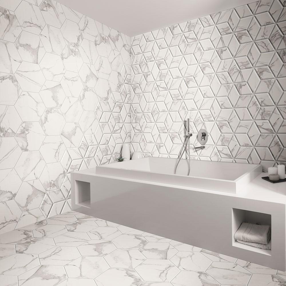 Dekor Marmor Kakel Zaire Vit Matt-Relief 29x33 cm